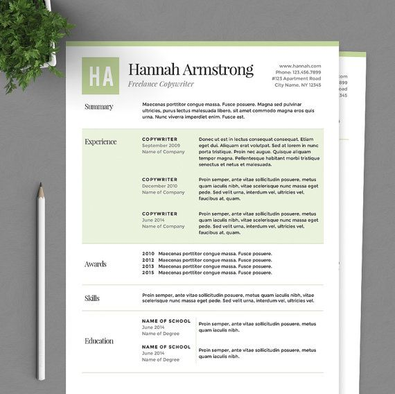 Green Resume & Cover Letter Template - Clean Template Package ...