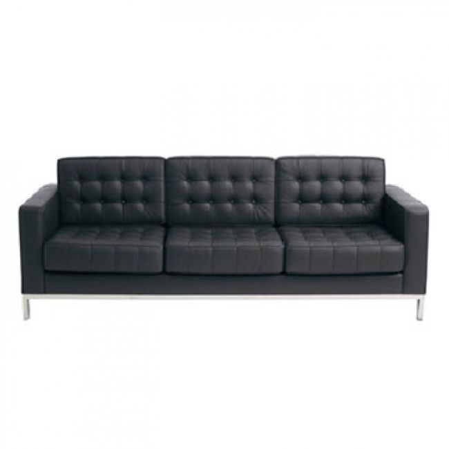 Contemporary Florence Knoll Style Black Leather Sofa
