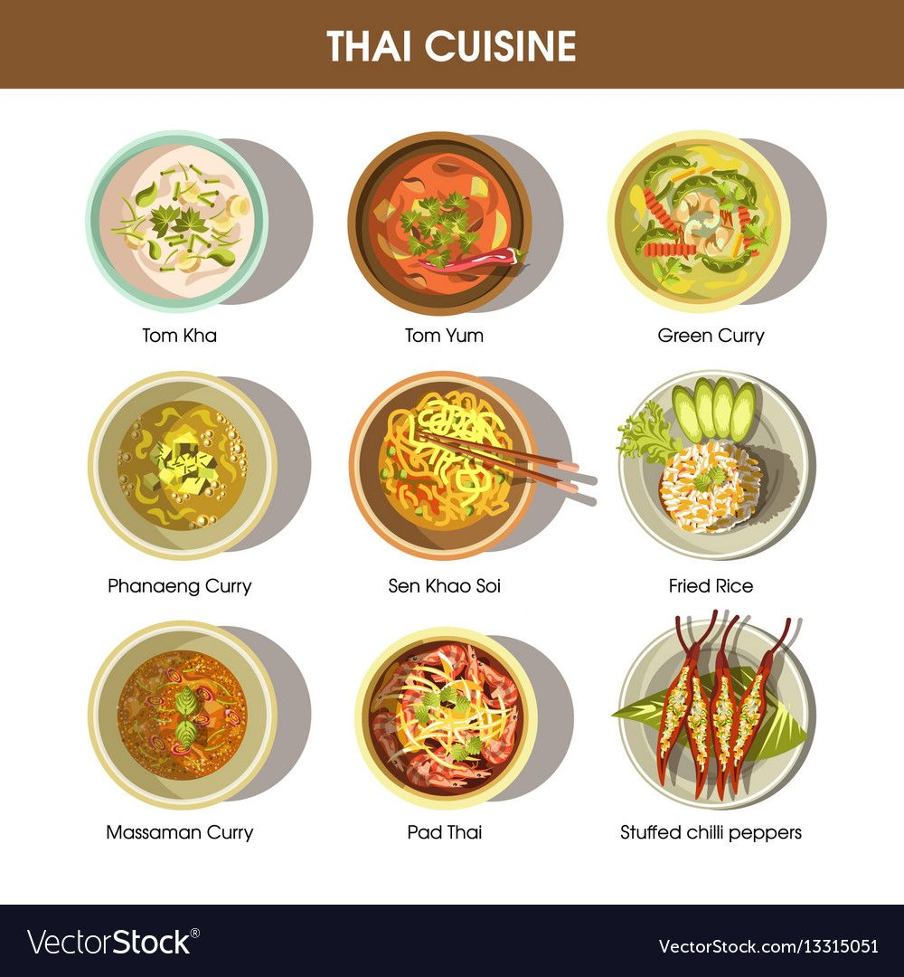 Thai Cuisine Poster With Traditional Dishes On Vector Image Traditional Thai Food Thai Cuisine Thai Recipes