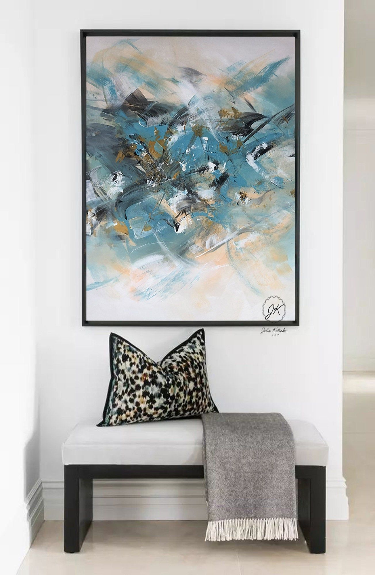 Large Abstract Oil Painting On Canvas Blue Painting Above Bed