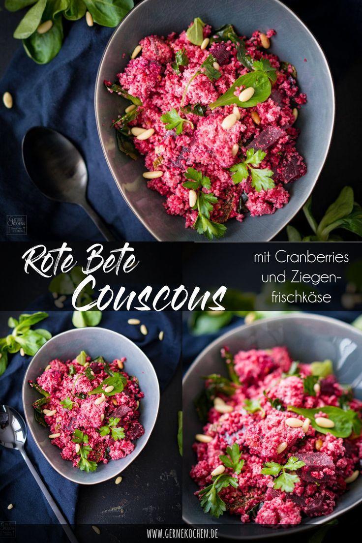 Rezept: Rote Bete-Couscous mit Pinienkernen und Ziegenkäse