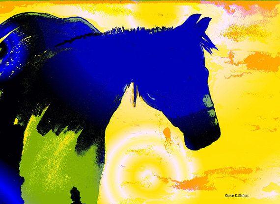 Blue Horse Folk Art Mixed Media Painting Equine Southwestern Farm ...