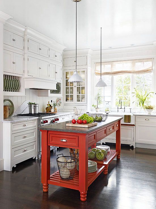 Kitchen Island Storage Ideas and Tips | Rojo, Cocinas y Comedores