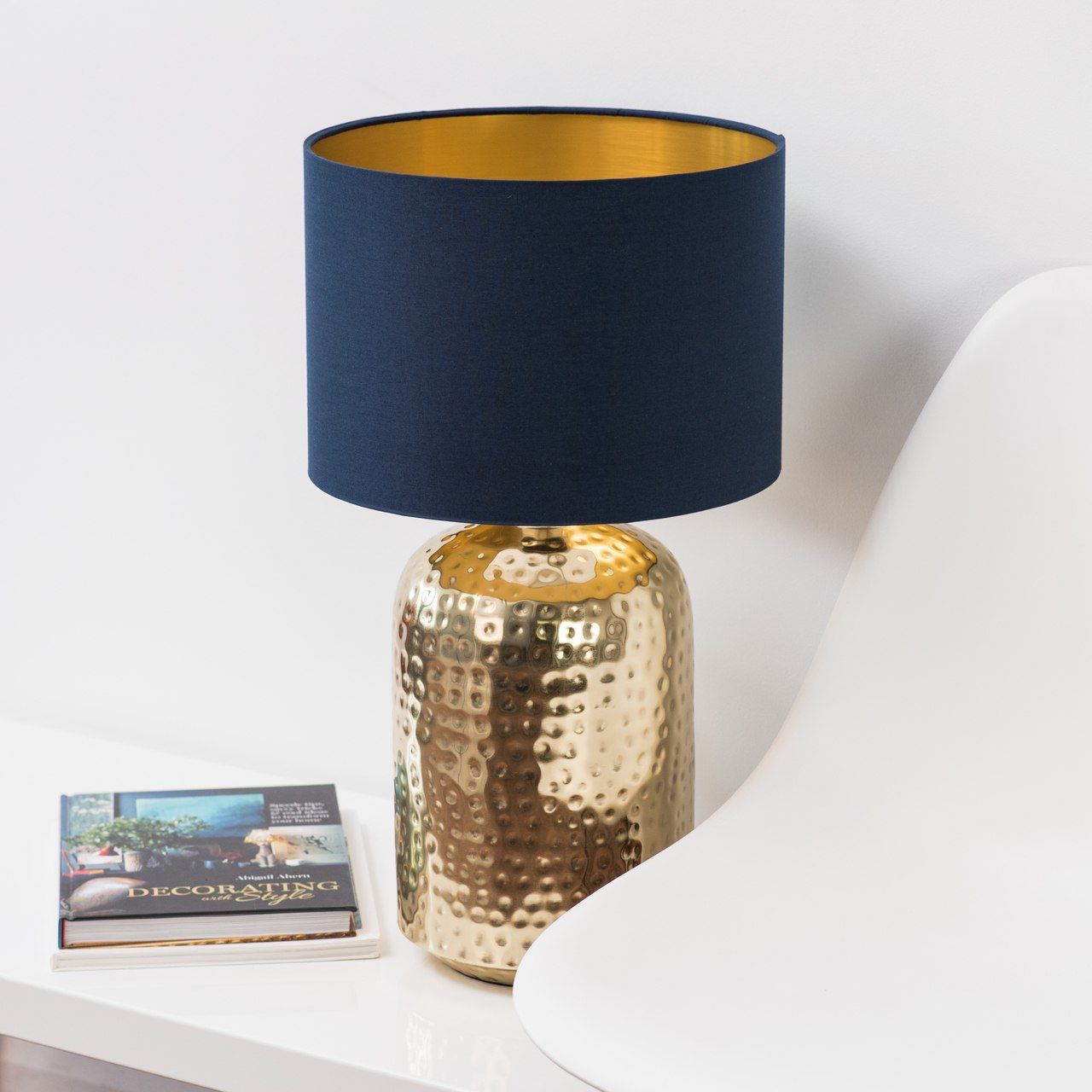 Gold Lamp With Blue Shade And Gold Inside Need To Order Colour Swatch Gold Lamp Shades Navy Gold Bedroom Gold Lamp