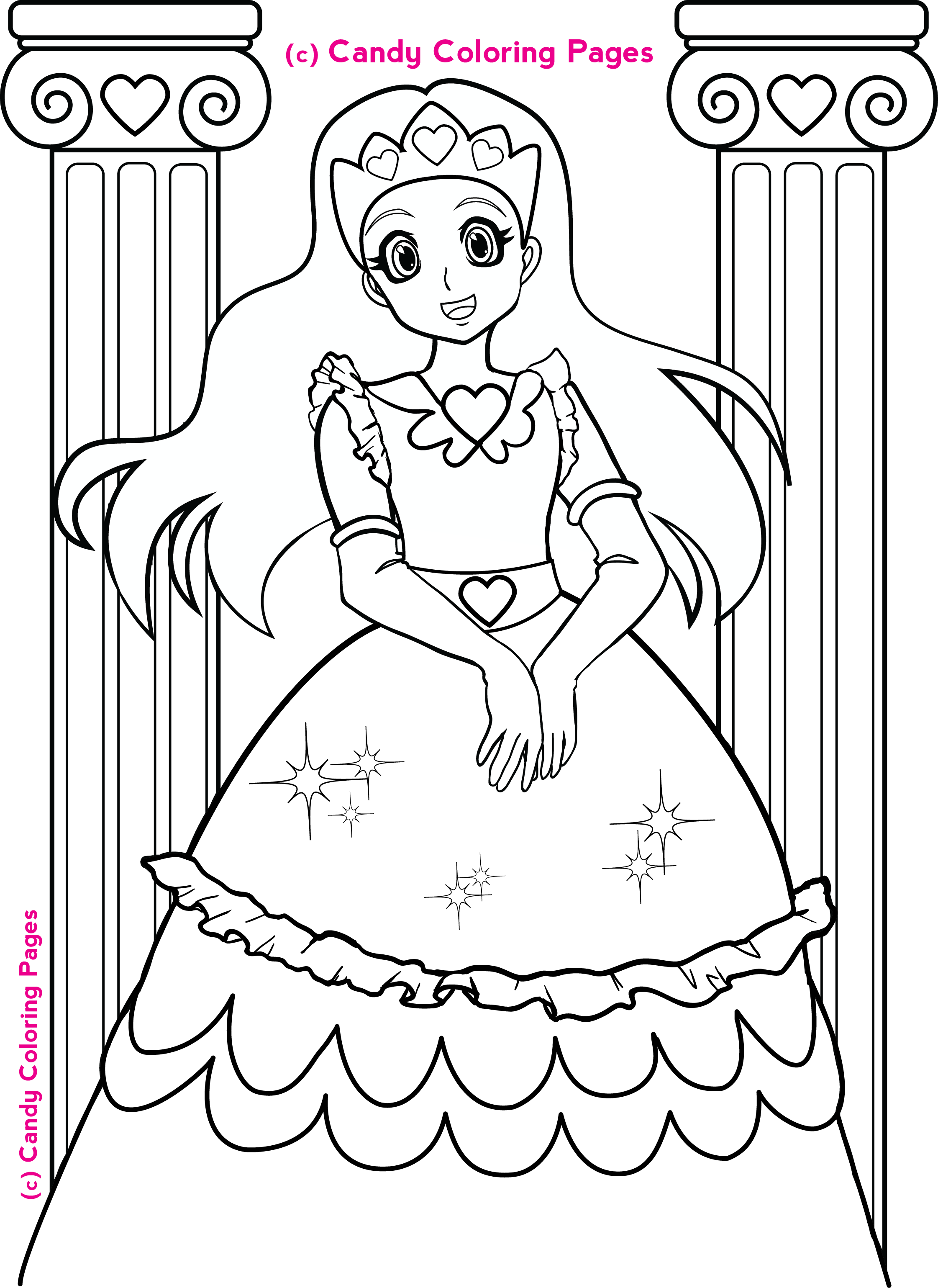 free-princess-coloring-pages.png (2242×3077) | coloring 6 | Pinterest