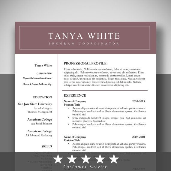 Editable Resume Cv Templates Reference TemplateCover Letter