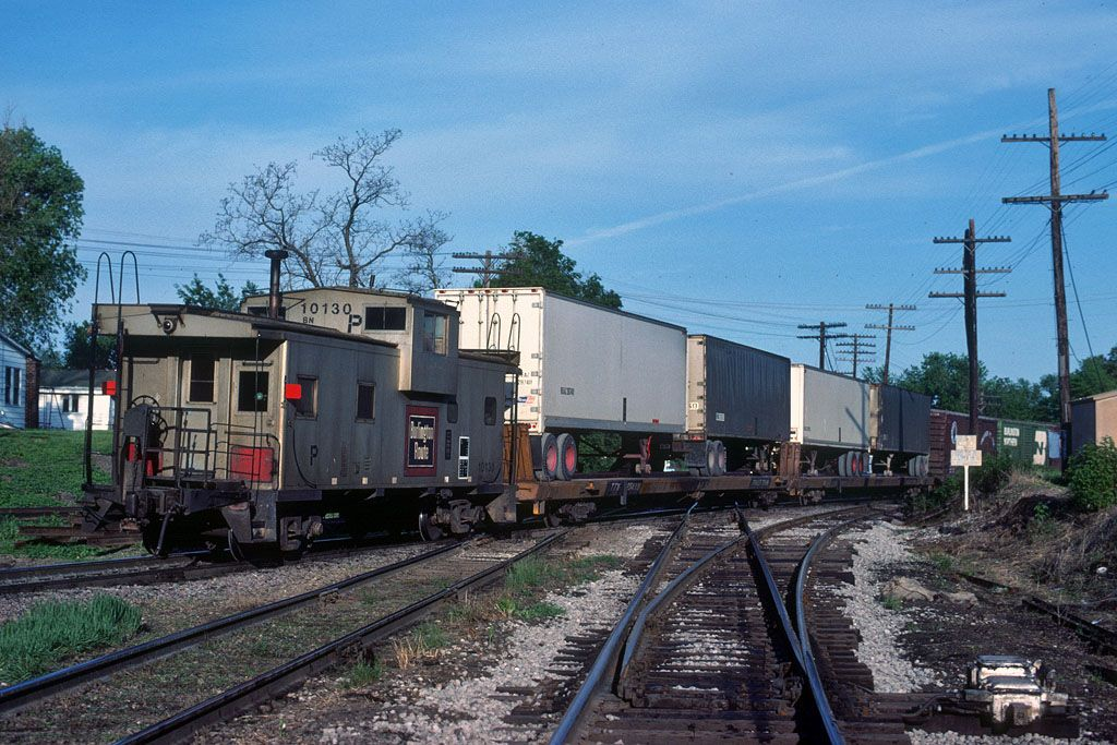 Burlington route silver steel caboose near colona il
