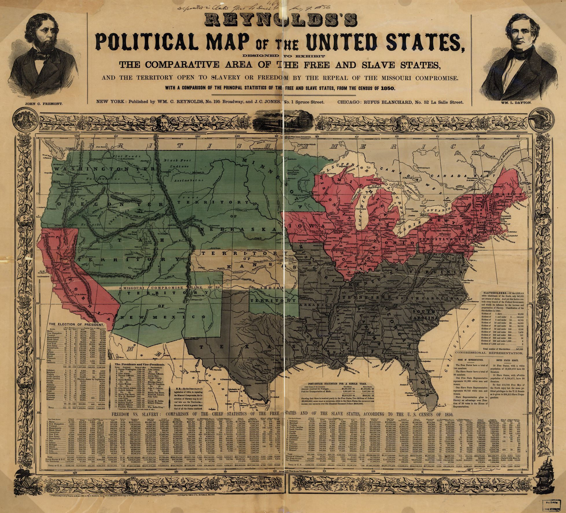 Political Map Of The United States 1850