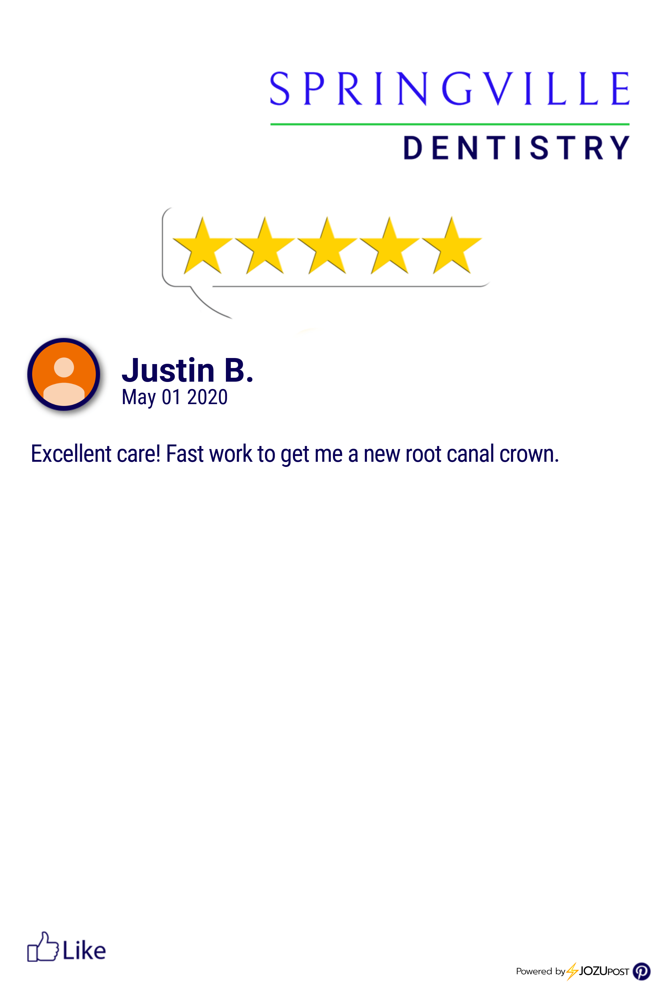We Appreciate Our Patients Here Is Our Latest Five Star Review From Justin B We Love To Recognize Those Patients That Take T Dentistry Springville Root Canal