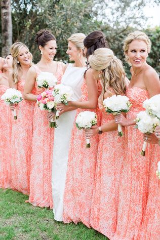 Florida Destination Weddings We Love These Bright Patterned Bridesmaids Dresses From This Real