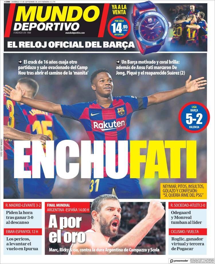 20190815 Portada de El Mundo Deportivo (España) Mundo