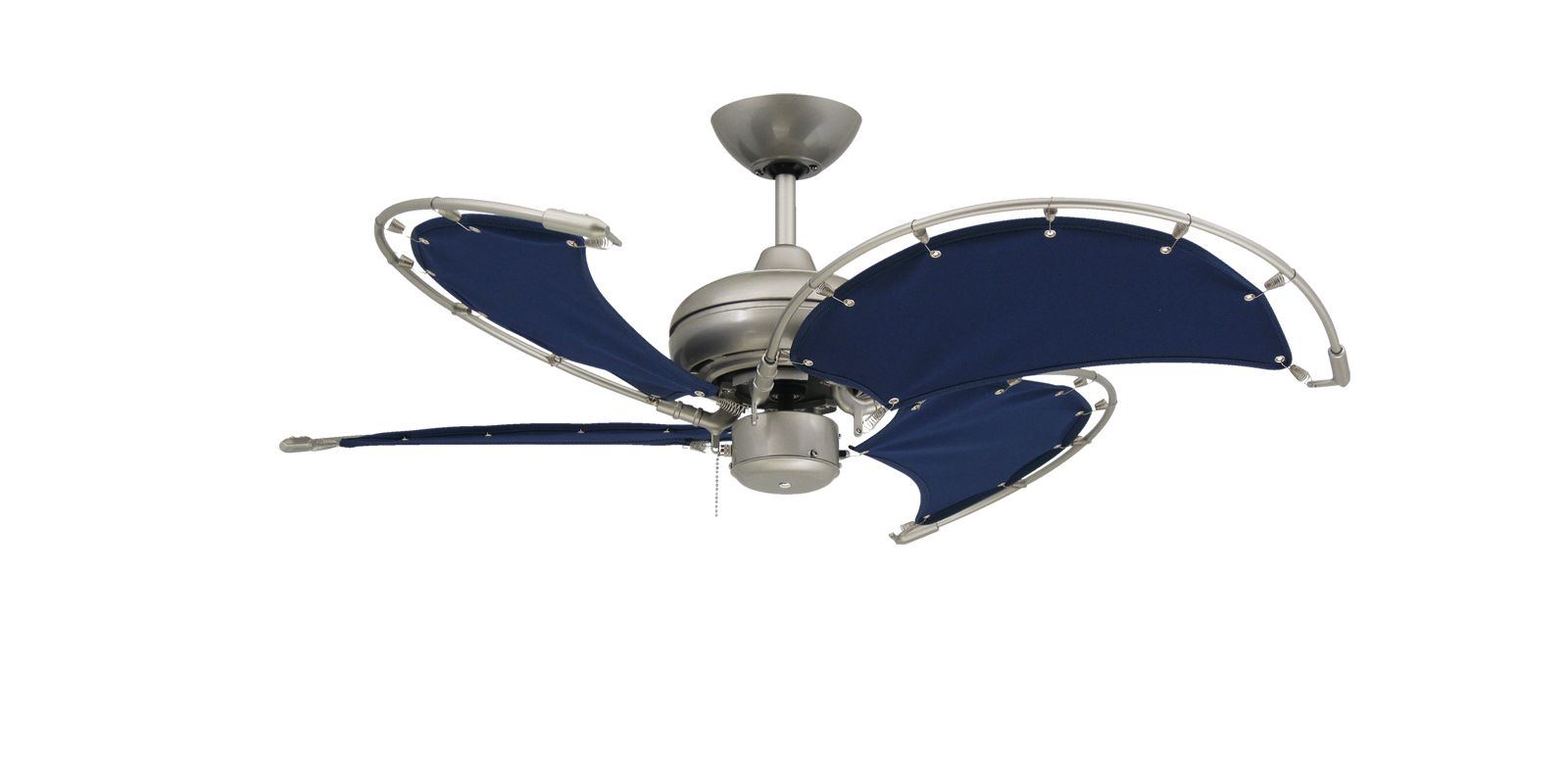 Visit The Home Depot To Buy TroposAir Voyage 40 In. Indoor/Outdoor Satin  Steel Ceiling Fan With Blue Fabric Blades 88702