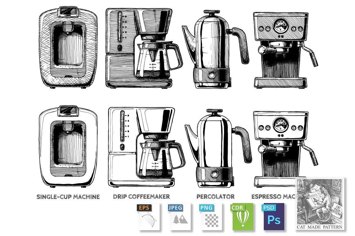 set of coffee machines By CatMadePattern TheHungryJPEG.com