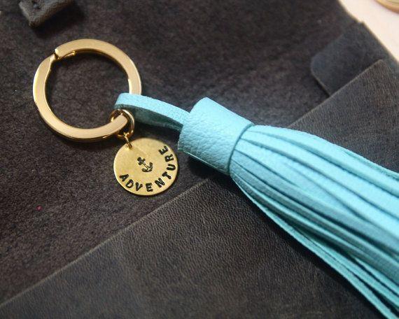 Items Similar To Leather Tassel Keychain Custom Initial Name