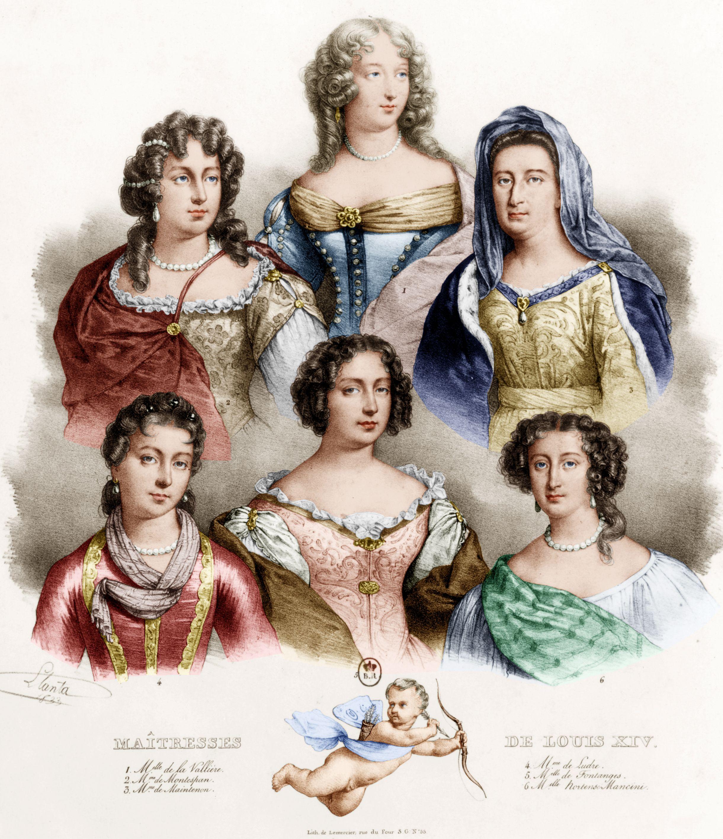 Les Maitresses Du Roi De France Louis Xiv En Haut G D Louise De La Valliere Francoise De Montespan Francoise Mme De Maintenon Roi De France Robes De Cour