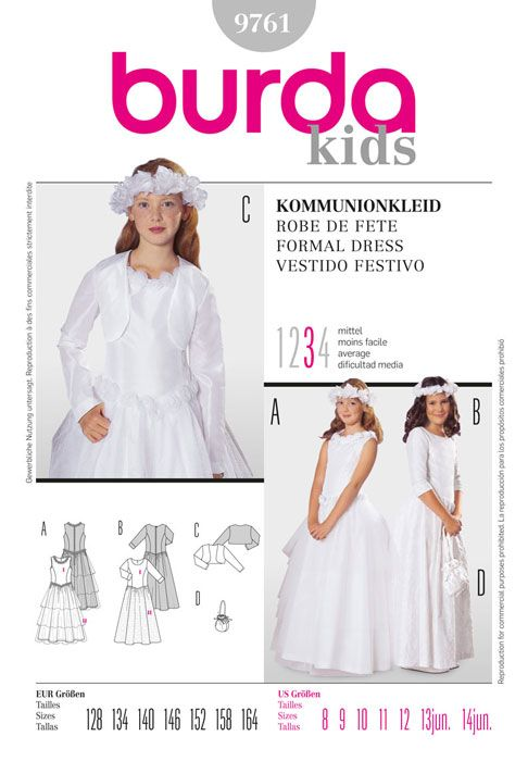 Girls Bridesmaid Dress Burda Sewing