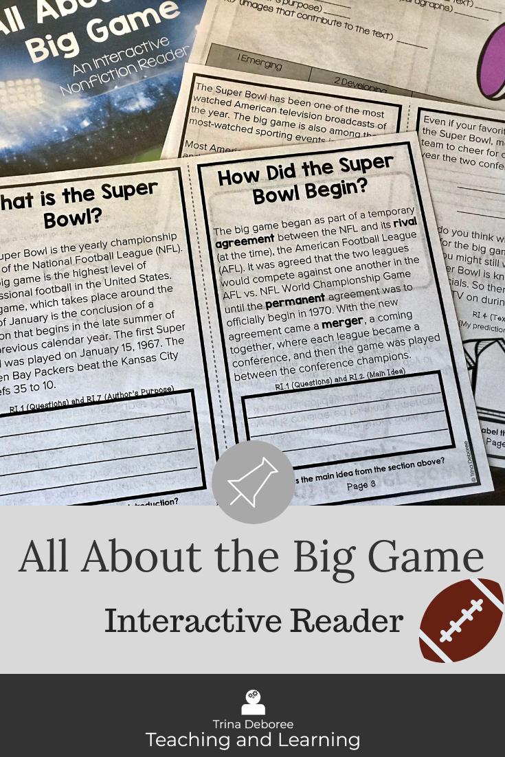 All About The Super Bowl Nonfiction Comprehension Reader Nonfiction Comprehension Informational Texts Activities Third Grade Classroom Setup [ 1102 x 735 Pixel ]