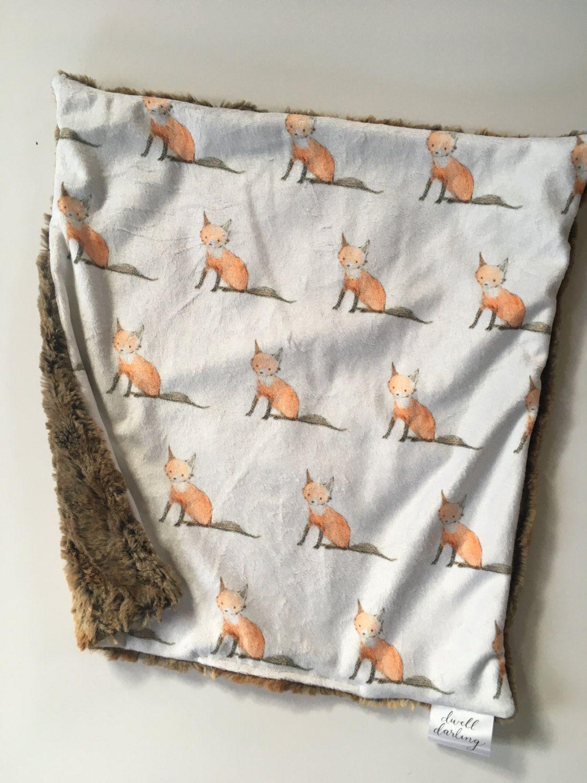 Fox Nursery Gender Neutral Baby Shower Gift baby Woodland Nursery Blanket minky Woodland Blanket Fox Baby lovey security blanket