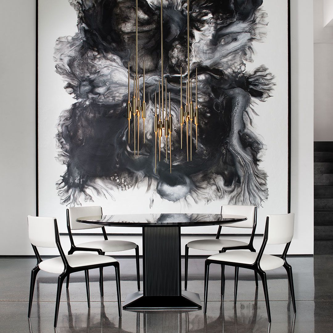 The Obsidian Dining Table Is Discreet Yet Arresting This Round Glass Topped Table Is Characteri Round Glass Table Accent Chairs For Sale Dining Table Chairs