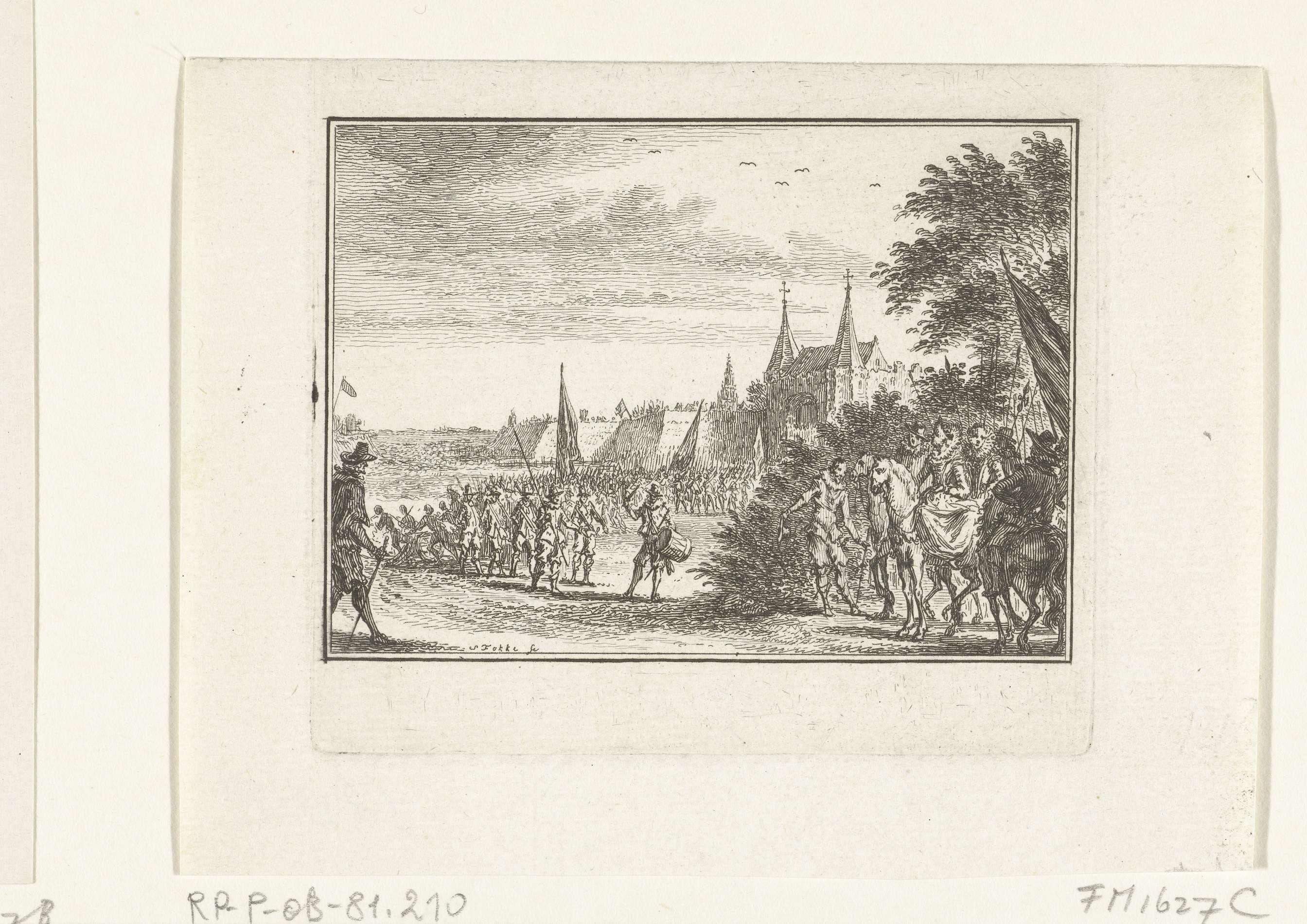 Simon Fokke | Spaanse troepen verlaten Den Bosch, 1629, Simon Fokke, 1782 - 1784 | De Spaanse troepen verlaten Den Bosch, na de overgave van de stad, 17 september 1629.