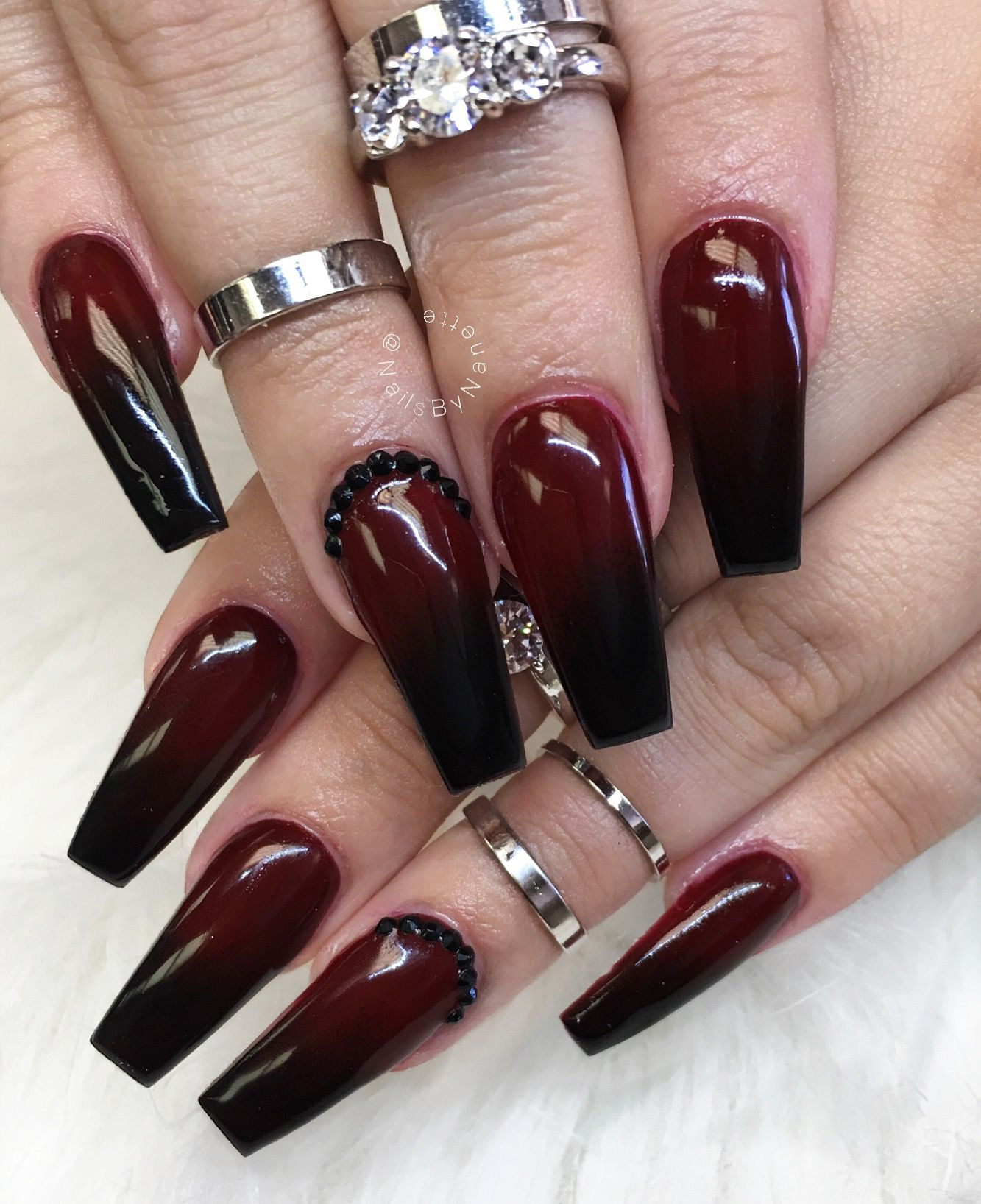 Red and Black Ombre nails for Halloween | Black ombre ...