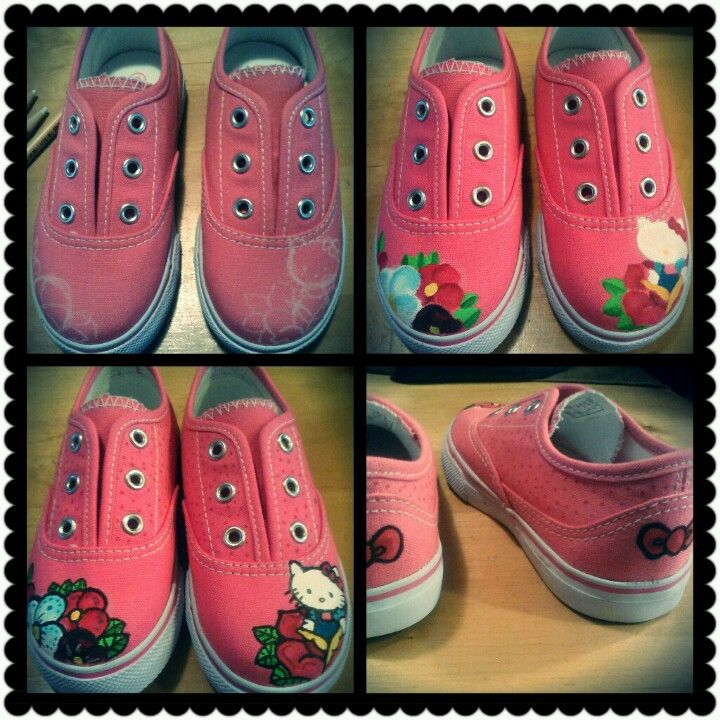 Hello kitty kids shoes. To check out more of my handpainted goodies go to http://m.facebook.com/Art.O.Angie