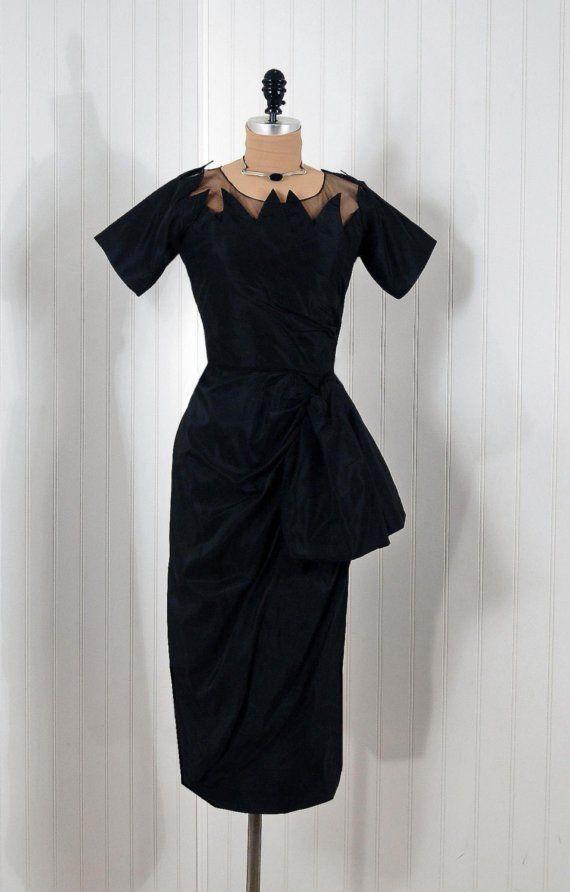 Cocktail Dress, Ceil Chapman: 1950's, heavily-draped silk taffeta.