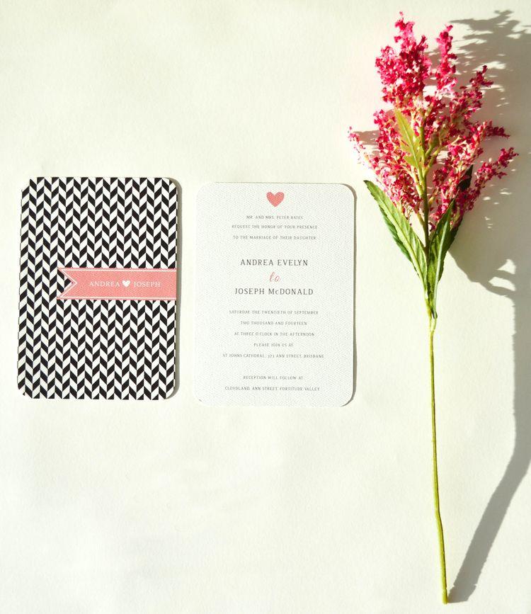 MIA // by Pencil and Pine // Black and pink chevron wedding invitation (eco-friendly print) #recycledweddinginvitation #ecofriendlyinvitation #pencilandpine