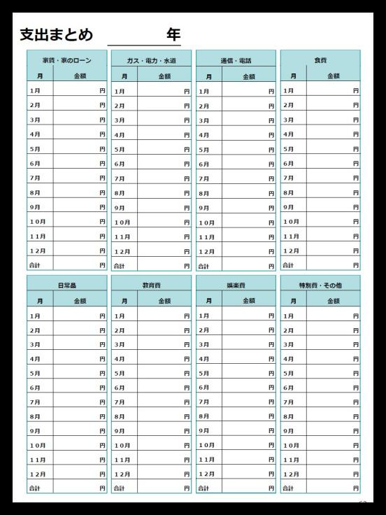 年間支出まとめカードテンプレート 無料pdfダウンロード 家計簿