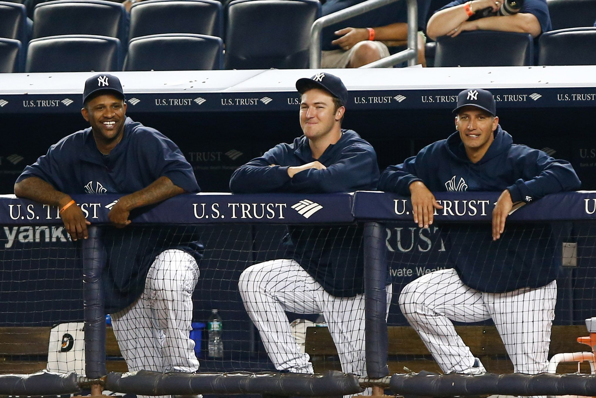 New York Yankees Pitchers Cc Sabathia Phil Hughes And Andy Pettitte Share A Laugh In The Dugout Against The L New York Yankees Yankees Pitchers Andy Pettitte