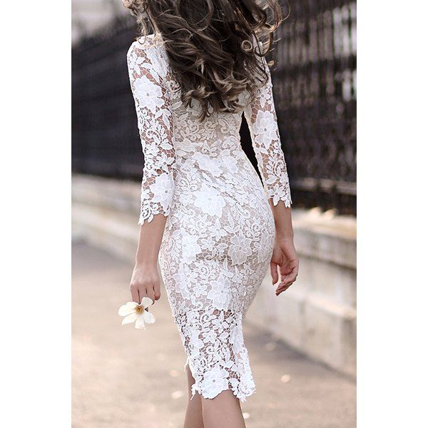 Women s Stylish Lace Cut Out Over Hip 3 4 Sleeve Pure Color Dress 80c97ea67