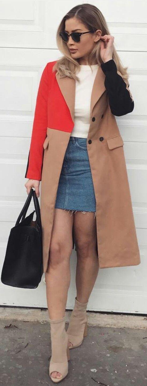 In between Seasons Outfits. Color Block. Demin Mini. Skirt. Coats. Follow @lacedior 👉 Pinterest.