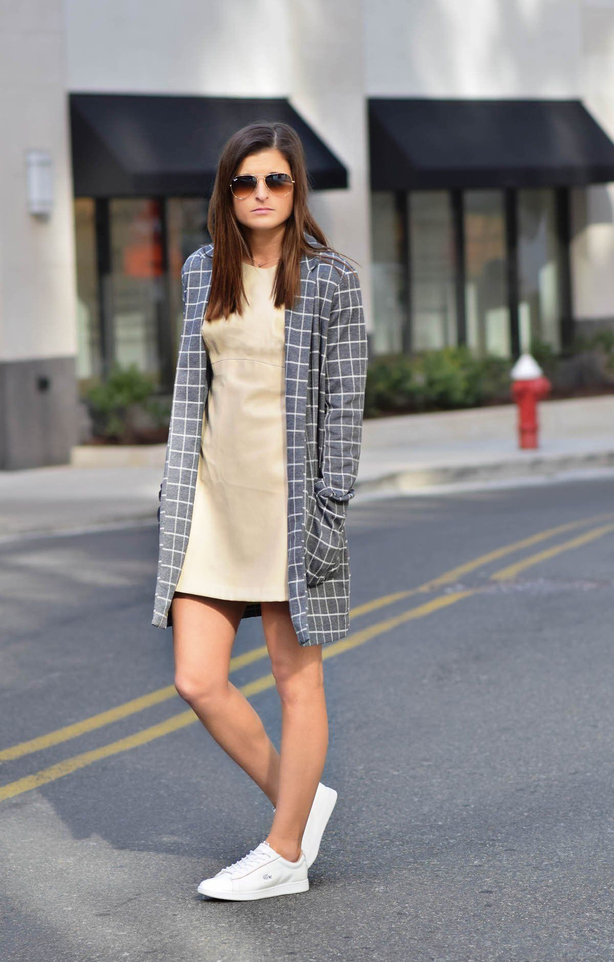 Blush'in Faux Motion | Zara nude faux leather dress, Shop Public check  print trench coat, Lacoste white sneakers, nyc street style, winter outfit  ideas, ...