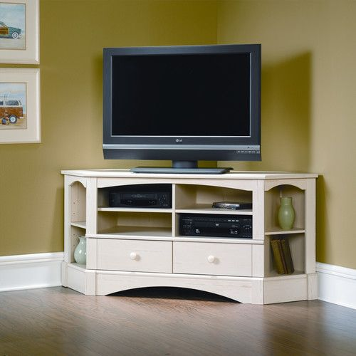 Sauder Harbor View 61 Tv Stand Wayfair Corner Tv Cabinets Corner Tv Stands Entertainment Credenza