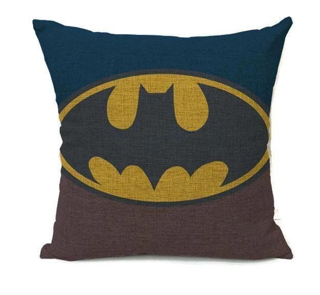 Vintage Batman Blue and Brown Emblem - Pillow Cover
