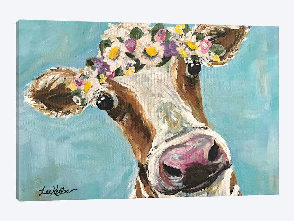 Cow With Flower Crown On Turquoise Art Hippie Hound