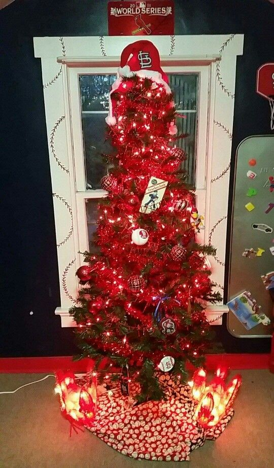 St Louis Cardinals Christmas tree in our St. Louis Cardinals play room...  baseball fans at their best. - St Louis Cardinals Christmas Tree In Our St. Louis Cardinals Play