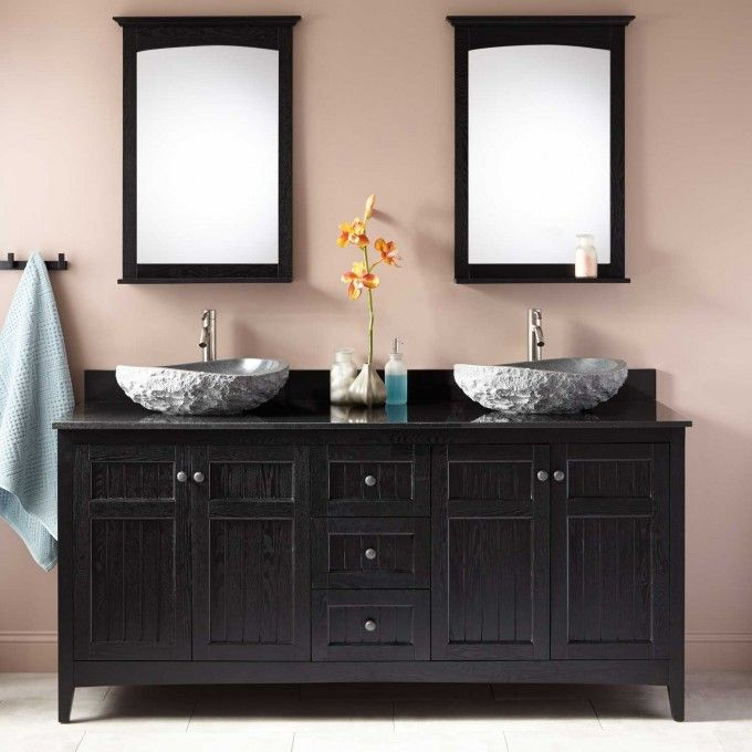 Alvelo Double Vessel Sink Vanity Black Grey Bathrooms - Bathroom remodel double sink vanity