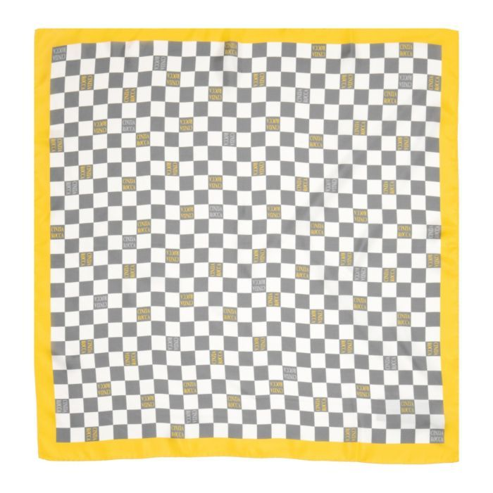 Silk Checkered Scarf in Yellow & Grey