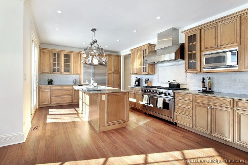 Traditional Light Wood Kitchen Cabinets #103 (Kitchen