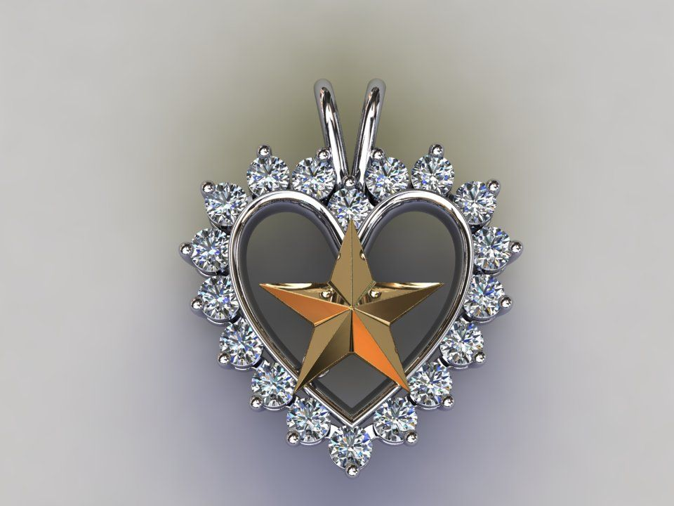 and Jewelry Gold Star Heart Pendant