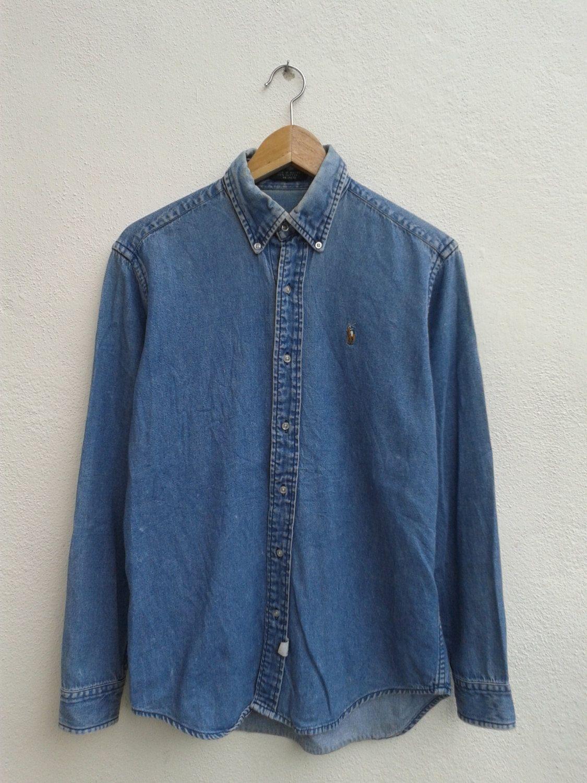 42bbcf93b7 SUMMER SALE Polo Ralph Lauren Colorful Pony Vintage 90s Polo RL Denim Jeans  Button Downs Casual Shirt -  30.51 USD