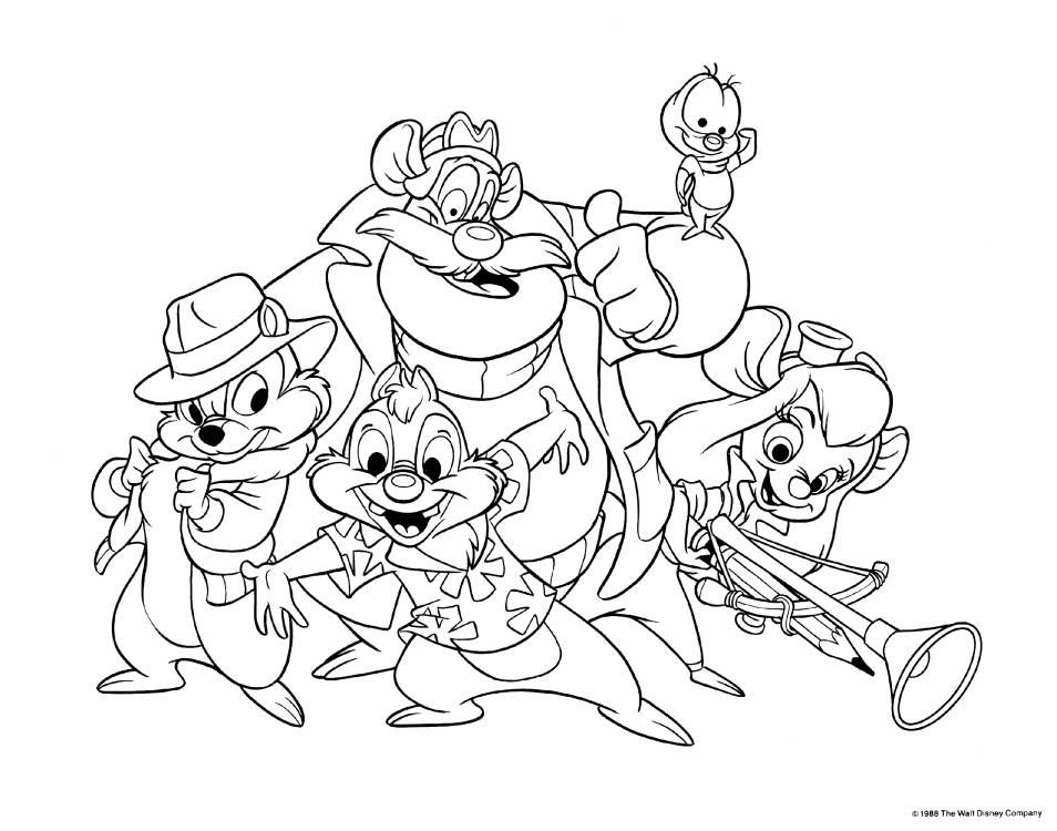Chip and Dale coloring pages for kids, printable free | 750x954
