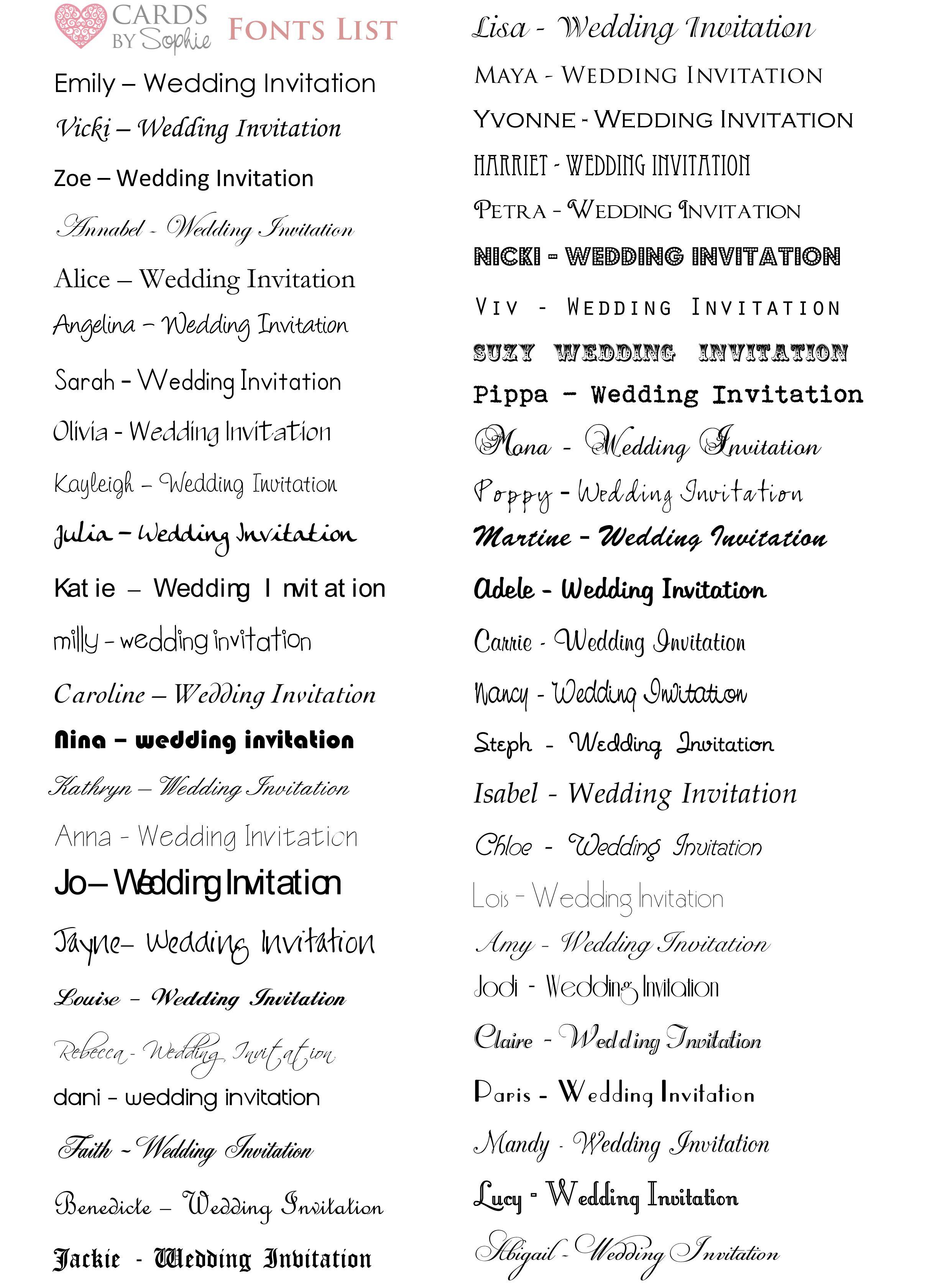 font styles wedding invitations - Google Search | Wedding ...