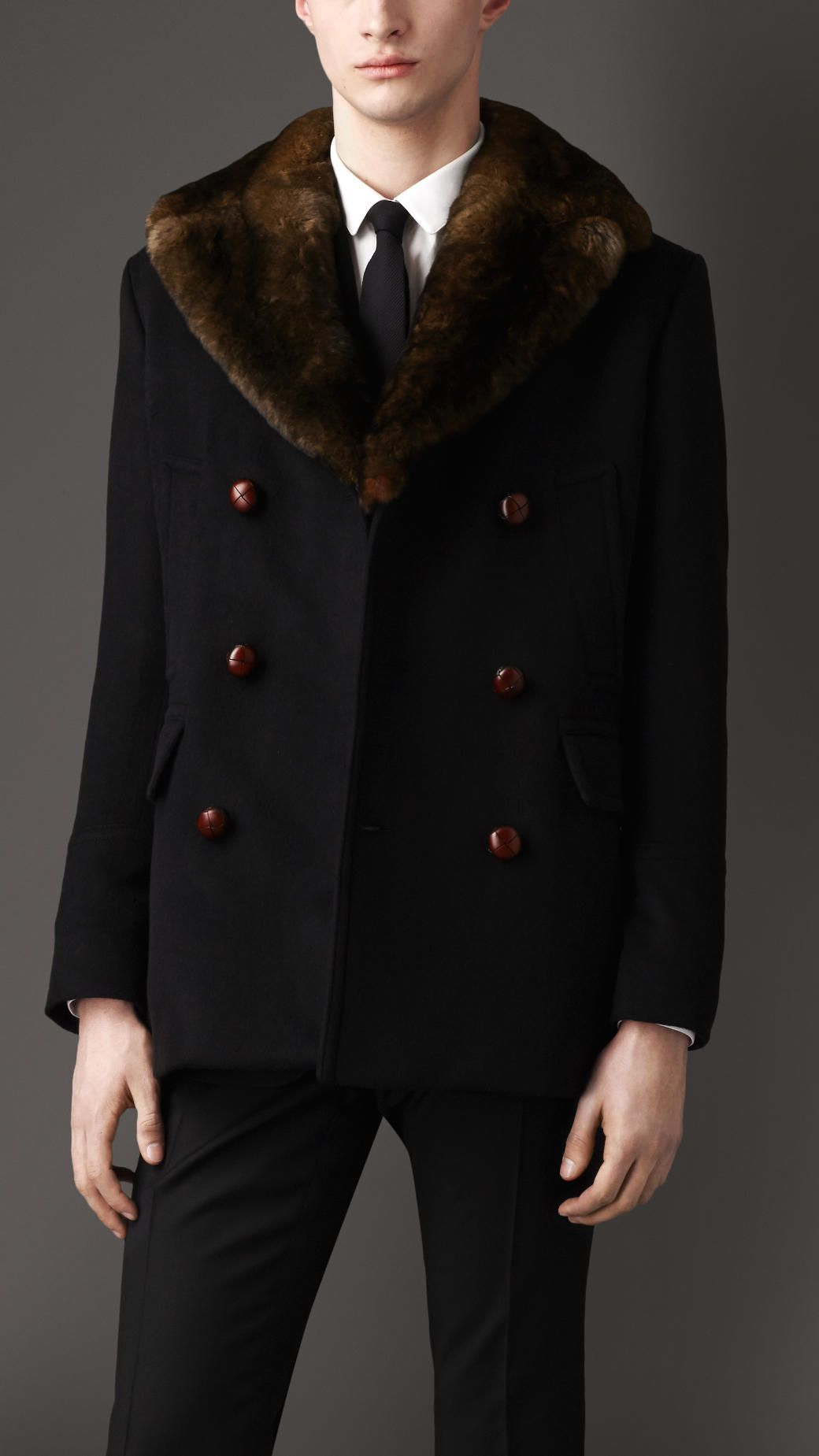 Men's jacket collar - Burberry Fur Collar Pea Coat In Black For Men