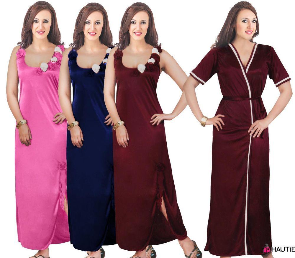 LADIES NIGHTIE NIGHTY WOMENS DESIGNER 2PC NIGHTWEAR ROBE SATIN NIGHTDRESS  in Clothes d77ebebdb