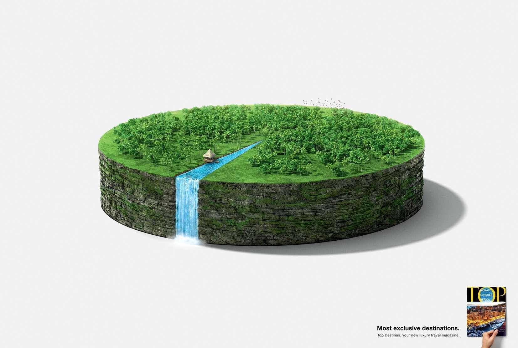 TOP Destinos: Waterfall Most exclusive destinations. Advertising Agency: ALMAPBBDO, Brazil