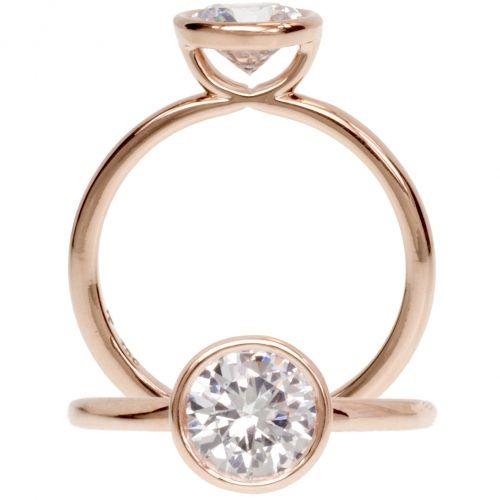 Big 3 Ct White Round Bezel Set Diamond 925 Silver Engagement Wedding Lovely Ring