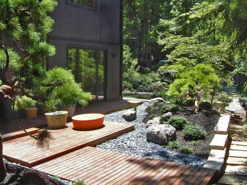 Outdoor: Modern Garden Japanese Design With Wooden Deck And ...