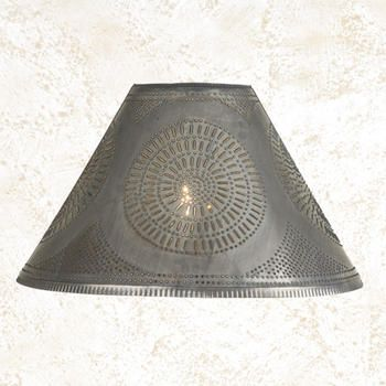 Punched tin lamp shade in blackened tin with chisel design punched tin lamp shade in blackened tin with chisel design available in three sizes mozeypictures Images